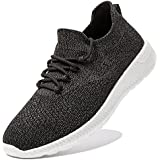DAROKE Running Shoes for Men Lightweight Sneakers Athletic Walking Slip On Comfortable Bowling Breathable Trail Road Casual Tennis Fashion Sport Shoes for Travel Workout Gym(Dark Grey)