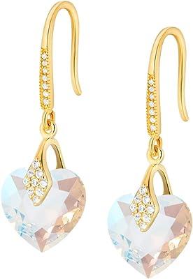 Crystals & Stones – Pendientes con forma de corazón de plata 925 / chapado en oro 24 K – Crystal Shimmer – Pendientes con cristales de Swarovski® – Bonitos pendientes para mujer – Pendientes con caja de regalo gratis