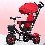 Aocean Tricycle, Triciclos Bebes Evolutivo Infantil 4 en 1 Bicicletas para Bebe Niños Reclinable Cochecito con Cuna Reversible al Padres MáXima 30 Kg, Red
