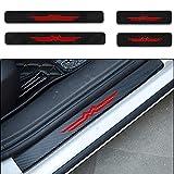 Pcwl 4 Pegatinas de protección de umbral, Fibra de Carbono para Puerta Delantera/Trasera, Pegatinas de umbral de Puerta de Carbono, Placa de Desgaste para Mazda CX-5 (Rojo)