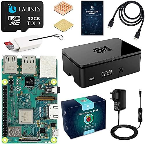 Raspberry pi 3 b+ con 32GB Micro SD Clase 10, 5V 3A Tipo C con Interruptor, Cable HDMI, 2 Disipador de Calor, Lector de Tarjetas, Caja Negra