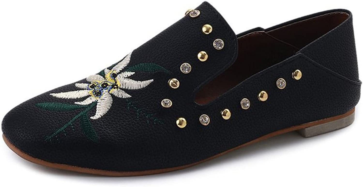 Giles Jones Flats shoes with Embroidered Studded Cristal Fashion Women Loafers