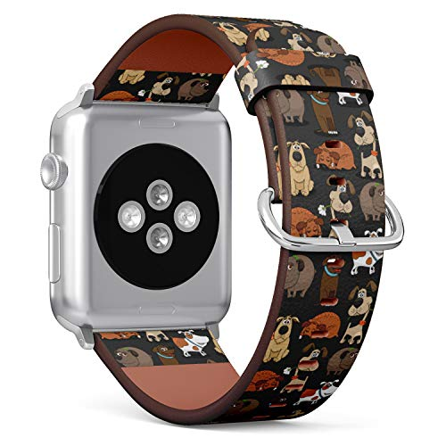 (Cute Dogs Pattern) Patterned Leather Wristband Strap for Apple Watch Series 4/3/2/1 gen,Replacement for iWatch 38mm / 40mm Bands
