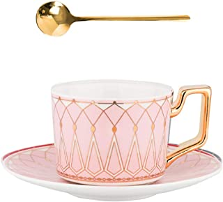 Tea Coffee Cups 7.4oz Bone China Ceramic Beautiful Pink Matte Glazed Tea Cup with Matching Saucers Father's Day Gift