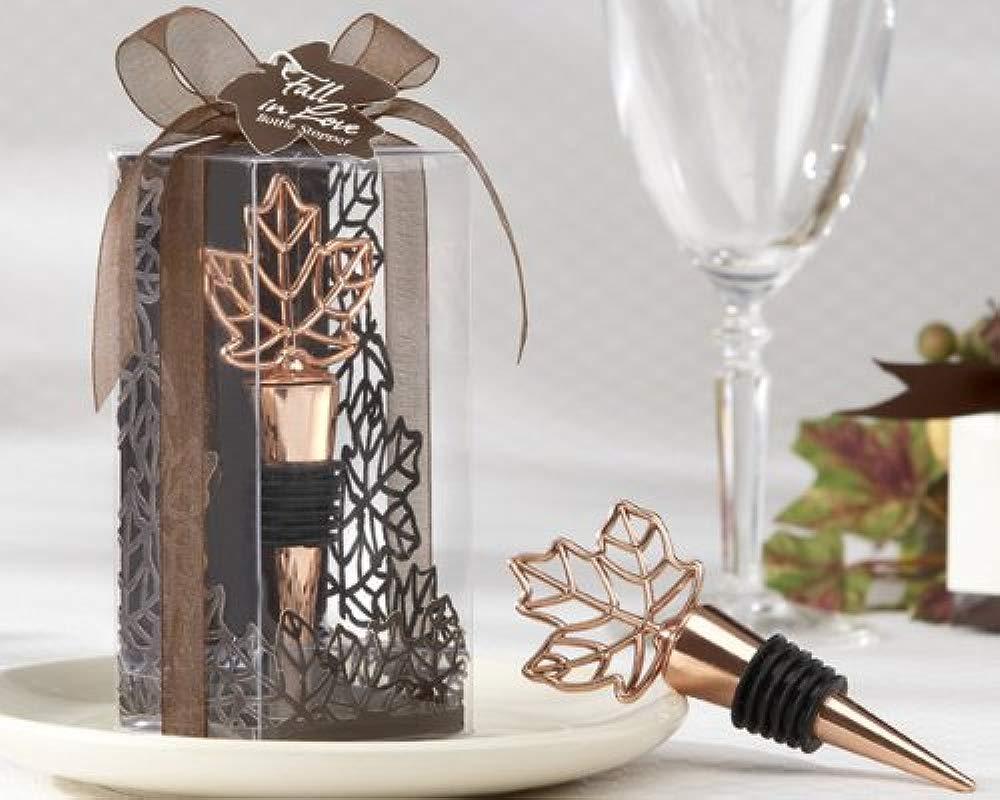 Lustrous Leaf Copper Finish Bottle Stopper In Laser Cut Leaf Gift Box 96