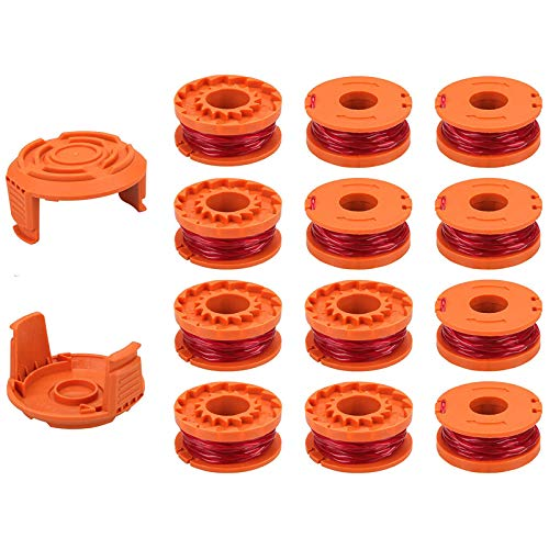 """PUTING 14 Packs (12 Packs + 2 Caps) Replacement Spools WA0010 0.065"""" Grass Trimmer Line Weed Wacker Eater Edger Spool String Refills Cover Pre-Wound Compatible for Worx"""