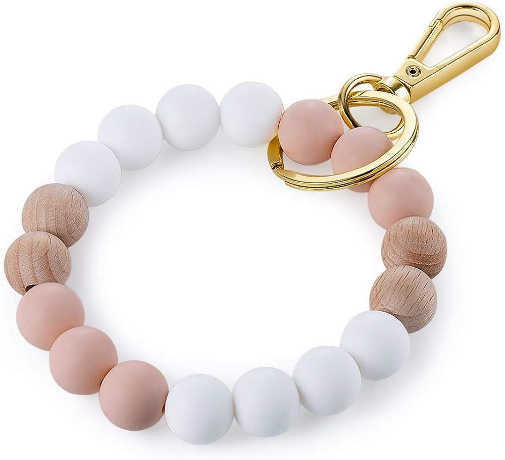 Kemstone Designs Silicone Bracelet Keychain Wristlet,Key Ring Bracelet Beaded Link for Women