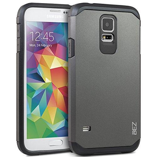 Samsung Galaxy S5 / S5 NEO Hülle, BEZ® Handyhülle Stoßfestes Etui für Samsung S5 / S5 NEO, [Heavy Duty Serie] Outdoor Dual Layer Armor Case Handy Schutzhülle [Shockproof] robuste Hülle - Silber
