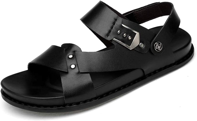 WHL.LL Men's Round Head Open Toe Sandals Cross Belt Metal Rivet Leisure Sandals Non-Slip Cool Beach shoes