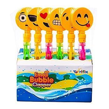 12 Pack Giant Bubble Wands Emoji Party Favor Toys - Bulk Bubbles Party Favors Clapper Toys for Kids