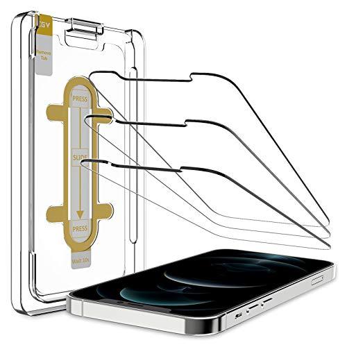 EGV Compatibile con iPhone 12 iPhone 12 Pro Pellicola Protettiva,3 Pack,Vetro Temperato, Installazione Semplice, con la Guida dello Strumento di Allineamento