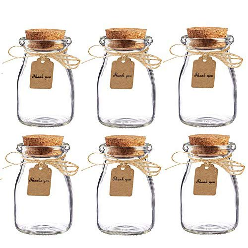 Amajoy 16pcs Glass Favor Jar with Cork Lids,Escort Card and Twine Wedding Favor Party Favor Glass Bottles Honey Pot Bottles (100 ML,3.4OZ)