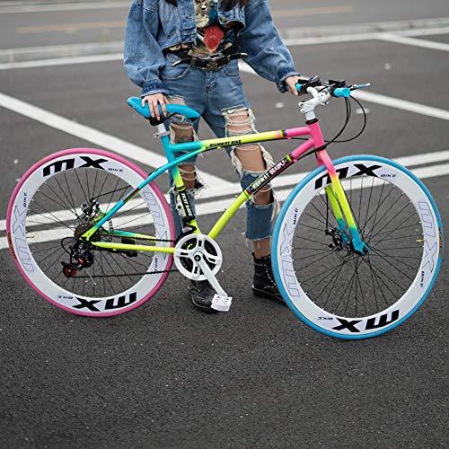 AURALLL Mens/Womens Hybride vélo de Route, Haute en Acier au Carbone Bike Racing 24x Double Frein à Disque Hommes vélo, Aluminium Stem Conception, Souple Selle