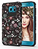 ShinyMax Galaxy S6 Case with Floral Design,Samsung S6 Phone Case, Hybrid Dual Layer Armor Protective Cover Flexible Sturdy Anti-Scratch Shockproof Cute Case for Women and Girls-Flowers/Black