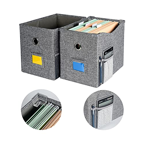 Storage-File-Box Collapsible-File Organizer Boxes with Metal Sliding Rail/Extra Pocket- Decorative Linen Filing & Storage Office Box – Hanging Storage Box for Letter Size Folder, Pack of 2(FB602)