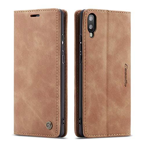 mvced Funda para Samsung Galaxy A10,Funda Móvil Funda Libro con Tapa Magnética Carcasa,Marrón