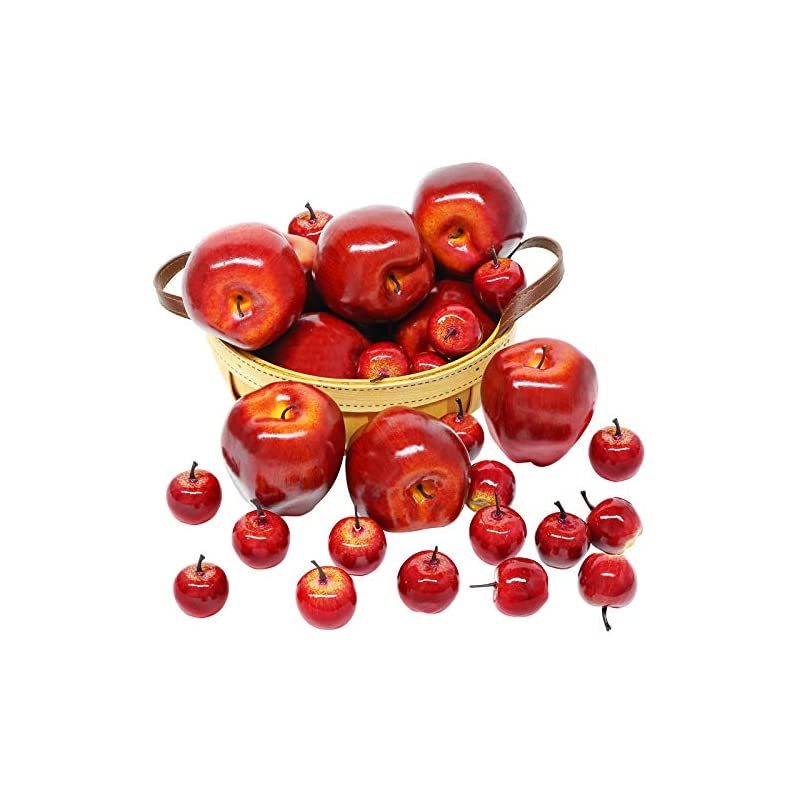 silk flower arrangements bigotters artificial apples, 30pcs fake fruits red apples dark red apple lifelike simulation for home house kitchen table basket photography party decoration