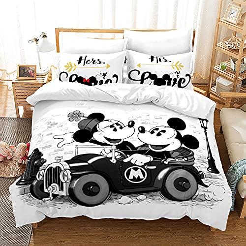 Mickey Mouse Funda Nordica 135X200 Cm Fundas Nordicas Infantiles con 2 Fundas De Almohada 50X75Cm Mullido Cálido Acogedor Suave Microfibre Ropa De Cama 3 Piezas