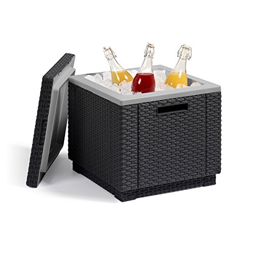 Allibert koelbox bijzettafel incl. koelelement Ice Cube rotanlook grafiet