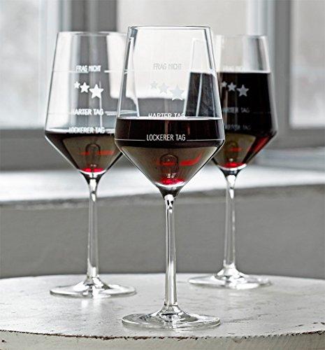 6 Stück Wie war Dein Tag-Weingläser von Zwiesel | 6er-Set | Guter Tag, Schlechter Tag-Weinglas mit Aufdruck | 6X 540ml Glas | Rotwein Weißwein | Made in Germany Sternefresser®
