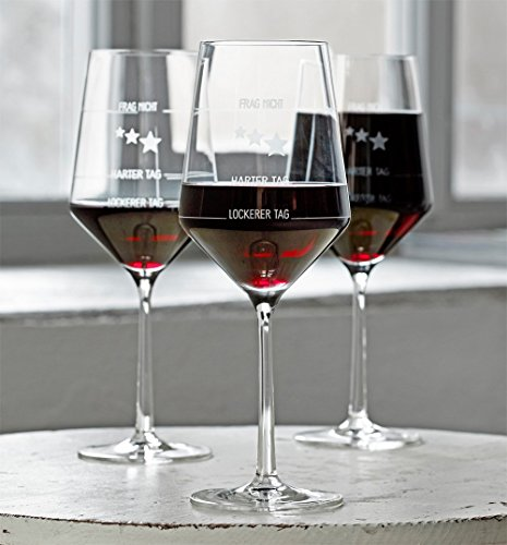 6 Stück Wie war Dein Tag-Weingläser von Zwiesel | 6er-Set | Guter Tag, Schlechter Tag-Weinglas mit Aufdruck | 6X 540ml Glas | Rotwein Weißwein | Made in Germany Sternefresser®