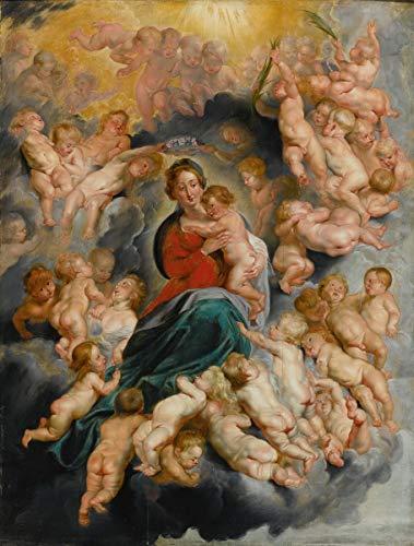 Berkin Arts Peter Paul Rubens Giclee Kunstdruckpapier Kunstdruck Kunstwerke Gemälde Reproduktion Poster Drucken(Jungfrau Und Kind Mit Putten) #XZZ