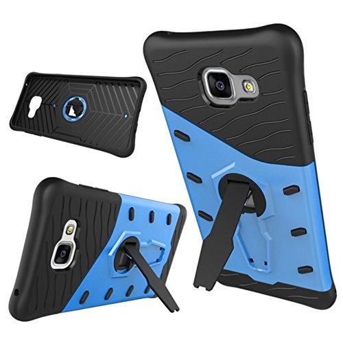 Zhanying pour Samsung Galaxy A5 2016 A510 Double Couche Armure Bouclier De Protection Antichoc avec Ajustement Kickstand Case Cover (Couleur : Bleu)