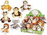 DISOK - Lote 12 Peluches Selva Animales 19 cm, presentados en Expositor. Peluches Animales de algodón, Detalles para niños, bautizos, Fiestas, cumpleaños.