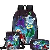 Among us mochilas, mochilas de hombre lobo espacial, mochilas escolares de tres piezas, mochilas de juegos de dibujos animados, bandoleras y estuches para lápices,Mochila para niños (Estilo 1)