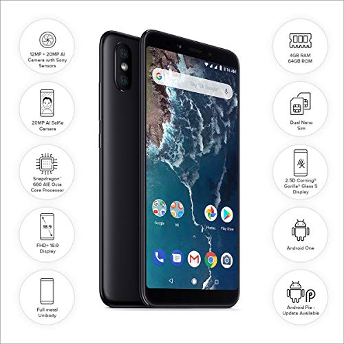 MI Xiaomi Mi A2 (Black, 4GB RAM, 64GB Storage)