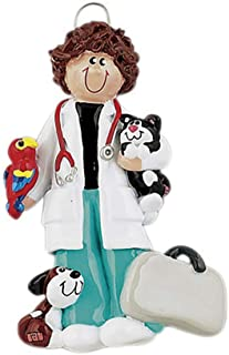 Personalized Vet Woman Christmas Tree Ornament 2019 - Brunette Veterinarian Uniform Paw Print Medical Health Care Hospital New Job Doctor Profession Animal Pet Clinic Gift Year - Free Customization