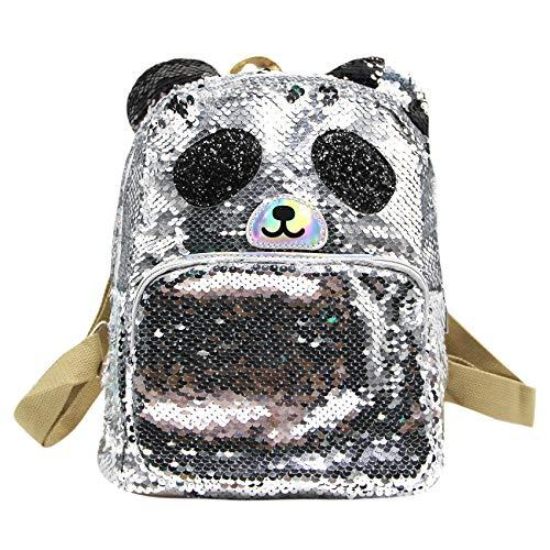 Lindo gato panda brillante lentejuelas mochila escolar mochila para mujeres niñas - - Talla única