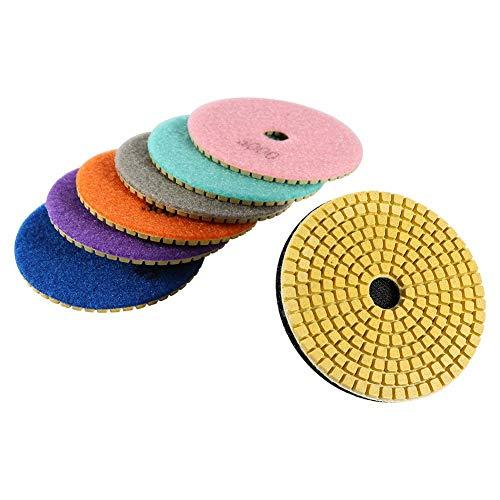Discos diamantados para abrillantar mármol, granito, hormigón o piedra. Abrillantado en seco o mojado. 100 mm de diámetro. Set de 50/100/300/800/1500/2000/3000