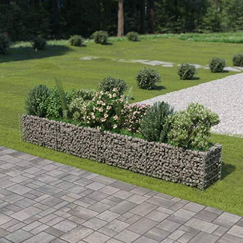 Festnight Jardinière à Gabion Acier Décoration de Jardin 360 x 50 x 50 cm