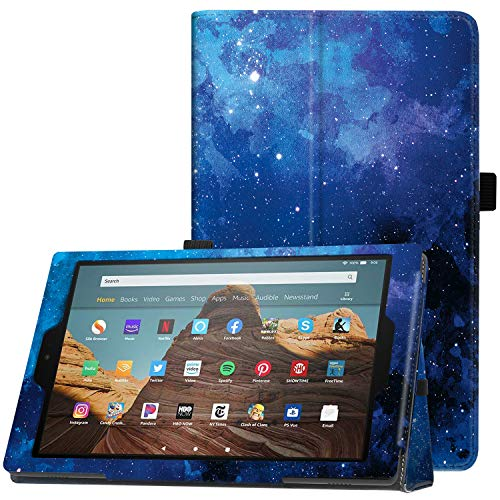 Famavala Folio Case Cover Compatible with 10.1' Amazon Fire HD 10 Tablet (9th / 7th / 5th Generation, 2019/2017 /2015 Release) (BlueSky)
