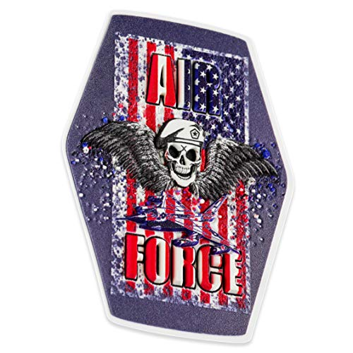 "US Army Military Skull Stickers – 5 in Pack Patriotic Hardhat Decals – 3D Helmet Stickers American Flag Army Decal Size 3"" x 4"" – Perfect for Hard Hat Motorcycle Helmet Cars Tablet Phone Laptop Window"