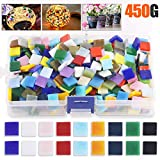 Rustark 450g Mixed Color Mosaic Tiles Assorted Stained Glass Mosaic Tile Supplies for Plates, Picture Frames, Flowerpots and Other Handmade Crafts (Square)