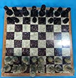 Unique Handmade Workmanship Pieces and Marble Design Chess Set ~ Classic Collection Folding Crafted Chess Game Board with Chess Pieces Chess Coins Pawns Chessmen (12' x 12'inch OR 30 x 30 Centimeter)