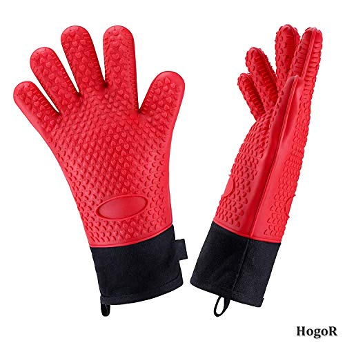HogoR BBQ Grilling Gloves, Heat Resistant Oven Grill Mitts, Long Non-Slip Waterproof BBQ Mitt Accessories for Men and Women, Black Silicone Pot Holders for Barbecue, Cooking, Baking, Gifts (Red)