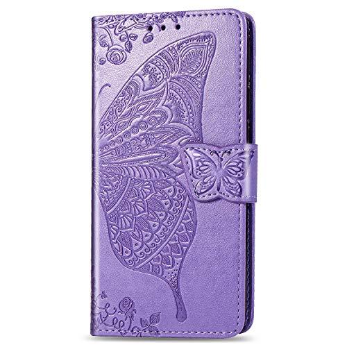 JIUNINE Hülle für Huawei Nova 5T / Honor 20, Handyhülle Leder Flip Hülle mit Schmetterling Muster [Kartenfach] [Magnetverschluss] Schutzhülle Tasche Cover Lederhülle für Huawei Nova 5T, Lila