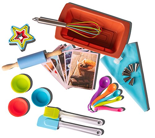 Riki's Kingdom Kids real baking set with recipes 39-Piece/Loaf pan/Cupcake/Muffin cups/Accessories/decorating kit Family Fun DIY Desserts, Cookie Cutters, Gift Giving Box