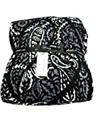 Vera Bradley Plush Throw Blanket 80 x 50 Black Paisley Noir