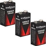 3X Kraftmax 9V Block Lithium Hochleistungs- Longlife Batterien für Rauchmelder/Feuermelder - 10 Jahre Batterie Lebensdauer