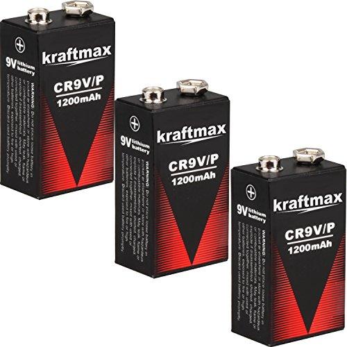 kraftmax 3X 9V Block Lithium Hochleistungs- Longlife Batterien für Rauchmelder/Feuermelder - 10 Jahre Batterie Lebensdauer