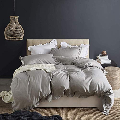 AUTOOK King Duvet Cover Set Washed Cotton White Ruffled Duvet Quilt Cover with Zipper Bedding Set Queen Size-Ruffle, LightGrey