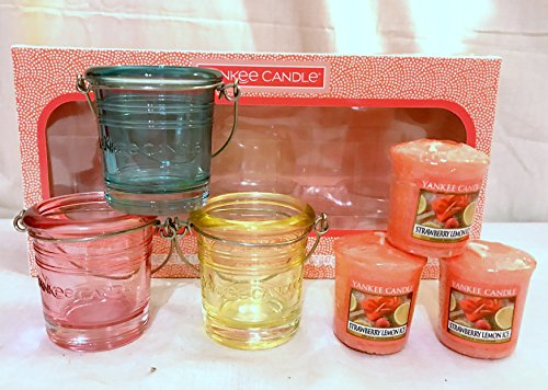 Yankee Candle New 3 Glass Votive Holders and 3 Votive Candles 6pc Gift Set (Strawberry Lemon Ice)