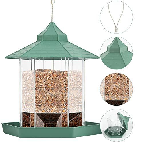 Yuehuam Vogelhäuschen Sechseck Geformt mit Dachplastik Hängenden Wildvogelhäuschen für Dekoration Gartenterrasse Hinterhof im Freien