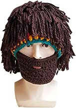 Mysika Creative Women and Men Beard Mask Wig Funny Knit Wool Crazy Funny Winter Hats Caps Halloween Cosplay Caps