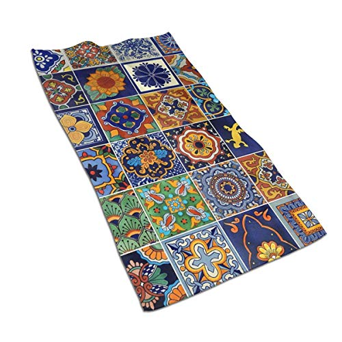 Talavera Mexican Tiles Kitchen Towels ¨C 17.5X27.5in Microfiber Terry Dish Towels for Drying Dishes and Blotting Spills ¨CDish Towels for Your Kitchen Decor