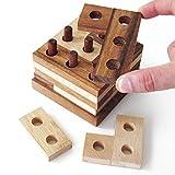 IMAGINE - jeu casse tête à partir de 8 ans difficulté 3/6. En bois massif, aux normes CE, marque française Le Délirant. But du jeu : Reconstruire la tour, chaque couche devra être composée de 3 pièces